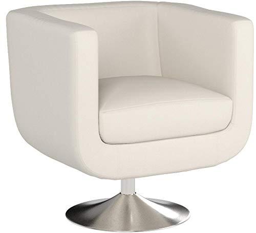 CLP Butaca de Salón Colorado V2 en Cuero PU | Silla Diseño Retro I Sillón Giratorio con Base Metálica | Silla Estilo Lounge Acolchada I Color: Blanco