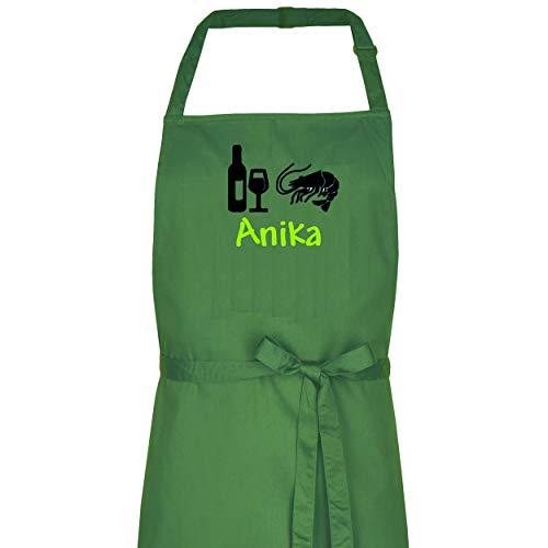 Wolimbo Kochschürze Grillschürze mit Ihrem Wunsch-Namen und Wunsch-Motiv - Farbe: Olive - die individuelle Schürze für Herren und Damen mit verstellbarem Nackenband