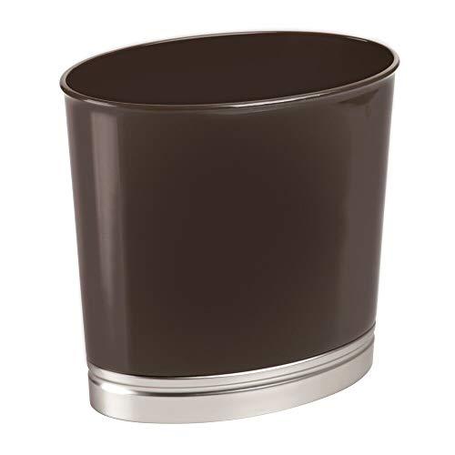 mDesign Mülleimer für Bad und WC – ovaler Kosmetikeimer mit elegantem Look – Design Abfalleimer aus widerstandsfähigem Kunststoff mit hochwertigem Finish – dunkelbraun/silberfarben