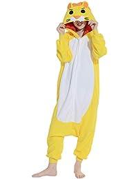 11b52132a1 Kigurumi Pijama Animal Entero Unisex para Adultos con Capucha Cosplay  Pyjamas León Amarillo Ropa de Dormir
