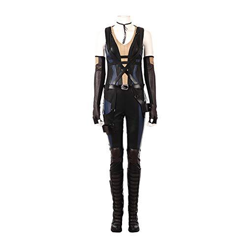 QWEASZER Marvel Deadpool 2 X-Man Domino Neena Thurman Cosplay Kostüm Damen Onesies, Handschuhe, Schuhe, Gürtel Halloween Film Kostüm Kostümfest Requisiten,Black-L (Domino's Kostüm)