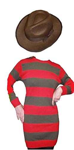 (Freddy Horror Stil Damen Kostüm rot gestreift Jumper & Hat Halloween Fancy Kleid Gr. Large/X-Large (Oberweite 112 cm), Freddy Krueger)