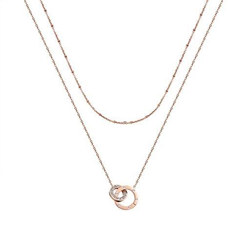 MYYQ Damen Titan Stahl Diamant Halskette Doppel Ring voller Diamanten Kurze Schlüsselbein Kette für Verschiedene Anlässe