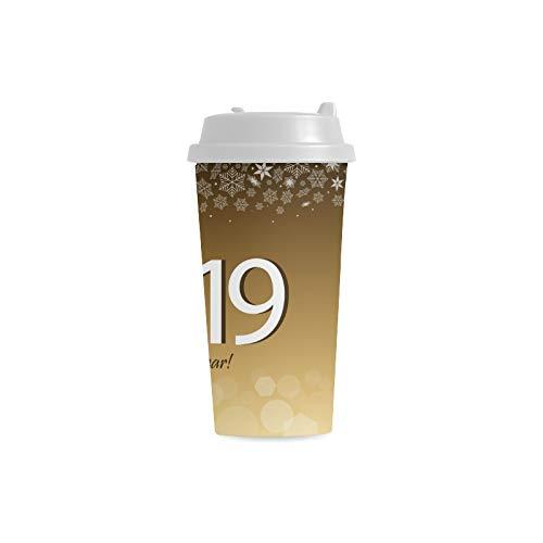 2019 Guten Rutsch ins Neue Jahr Feier zum Spaß Kundenspezifischer personalisierter Druck 16 Unze Doppelwand Plastikisolierte wasser Flaschen Schalen Pendler Reise Kaffeetassen für Studenten Teetasse Ins Baby Cup