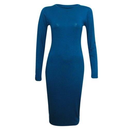 SugerDiva. Damen Lange Ärmel Uni Figurbetont Midi Maxi Kleid Blau - Teel