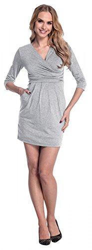 Happy Mama. Damen Umstands-Kleid. Schwangerschafts Tulpenkleid mit Taschen. 236p Grau Melange