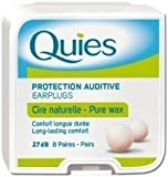 Quies Earplugs Natural Wax 8 Pairs 27 dB Noise Reduction Barrier Against Noise Pack Of 1
