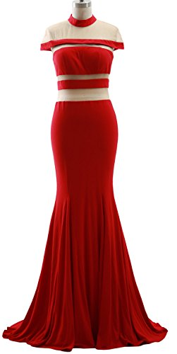 MACloth Mermaid High Neck Jersey Prom Gown Cap Sleeves Evening Formal Dress red