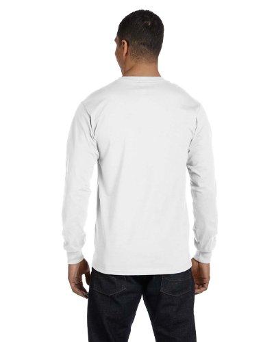 Hanes Mens Tagless ComfortSoft Long-Sleeve T 4PK_Black_M White