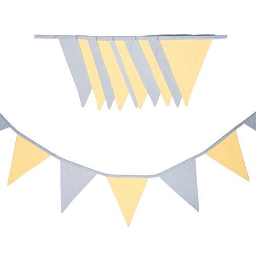 cozydots doppelseitig Wimpelkette, Stoff-Girlande, farbenfrohe Girlanden für Kinderzimmer & Baby Geburtstage, Kinderzimmer dekorieren,, 100% Baumwolle (Sunlight, 165)