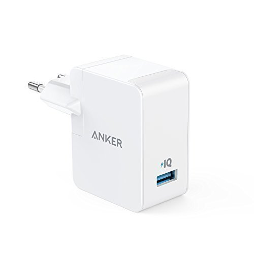 Anker PowerPort 1 (12W / 2.4A) 1 Port USB Ladegerät Reise mit UK /EU Stecker, Reiseadapter mit Power IQ für iPhone 8 / 8 Plus / 7 / 6s, iPad Air / mini, Samsung Galaxy / Note, LG, HTC usw. (Weiß)