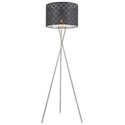 Tissu lampadaire salon lampe de lecture interrupteur décor plafonnier flush gris argenté Globo 15228S1