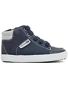 Scarpe Baby Sneakers a Collo Alto GEOX B GISLI in Pelle BLU B841NA-054AU-C0661