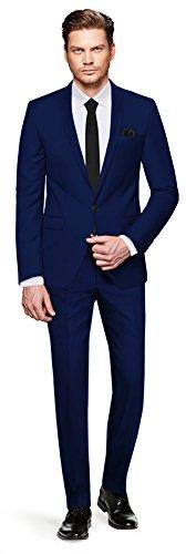 CRIXUS Herren Anzug Fine Satin - 3 teilig - Marineblau Blau Smoking Hochzeit Feier Business CS_3 (48) (Drei-knopf-anzug Individuelle Passform)