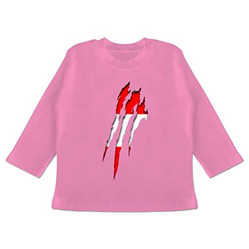 Städte & Länder Baby - Österreich Krallenspuren - 3-6 Monate - Pink - BZ11 - Baby T-Shirt Langarm