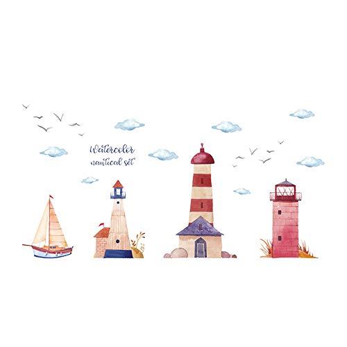 ufengke Wandtattoo Leuchttürme Strand Wandsticker Wandaufkleber Segelboot Nautisch Für Kinderzimmer Wand Himmel Baby - Moderne Leuchtturm