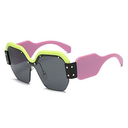 Eyewear Modische Damen GLÄSER UV400 Sonnenbrille, die über Normale verschreibungspflichtige Brille für Damen passt. Ideal zum Fahren, Radfahren, Sport (Farbe : Green Powder Frame Gray Lens)