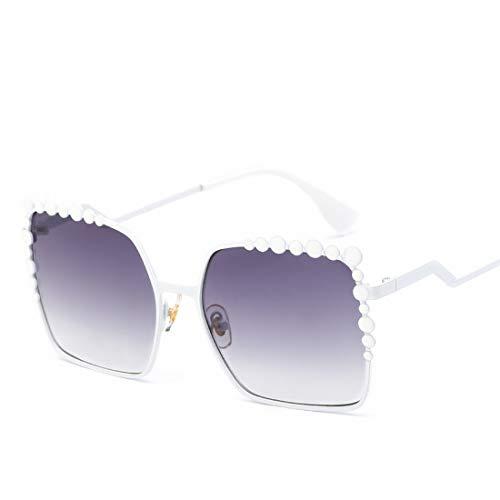 Olprkgdg Übergroße Sonnenbrille Gradient Metal Frame Glasses (Color : D)