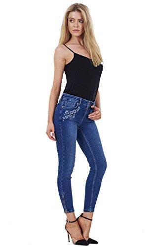 Damen Skinny Jeans - 7/8-Länge - Destroyed-Look - elastisch Indigoblau - Blumenmuster