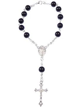 Schwarz lackiert Rosenkranz Armband mit Verschluss 8mm Perlen und Silber Kette [Schmuck]
