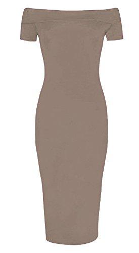 Fashion 4 Less Damen Schlauch Kleid Mokkafarben