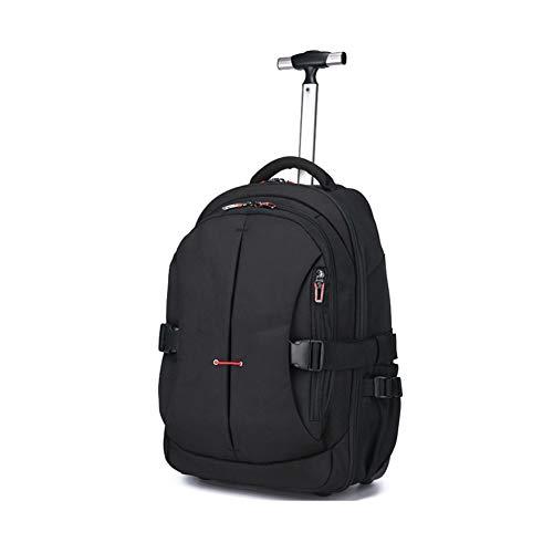 Zaino da studente da 22 pollici Zaino per studenti Zaino da rotolamento con ruote impermeabile per borsa per libri per laptop per ragazze e ragazzi, Viaggio impermeabile multifunzione-black