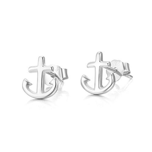 TRENDWERT® Anker-Ohrstecker-Ohrring aus 925 Sterling-Silber mit Rhodium oder rose-Gold Veredelung für Damen Mädchen Kinder ()