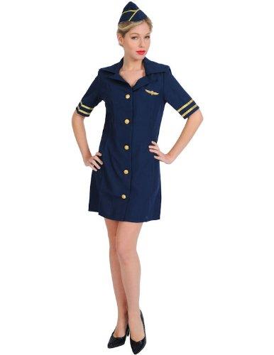 Sexy Stewardess Kostüm Karneval in Blau Mottoparty Verkleidung Damen (Letzte Runde Kostüme)