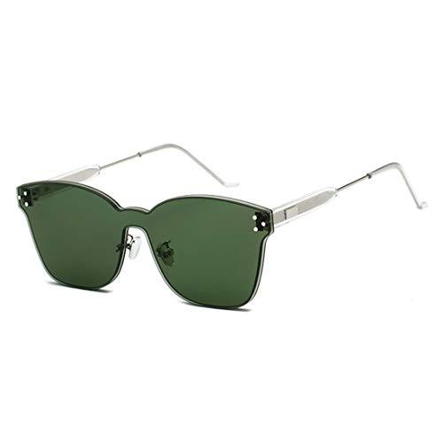 Yiph-Sunglass Sonnenbrillen Mode UV400 Schutz Outdoor Fahren Reisen Sommer Strand Einteilige rahmenlose farbige Linse Niet Dekoration Sonnenbrille (Farbe : Military Green Film)