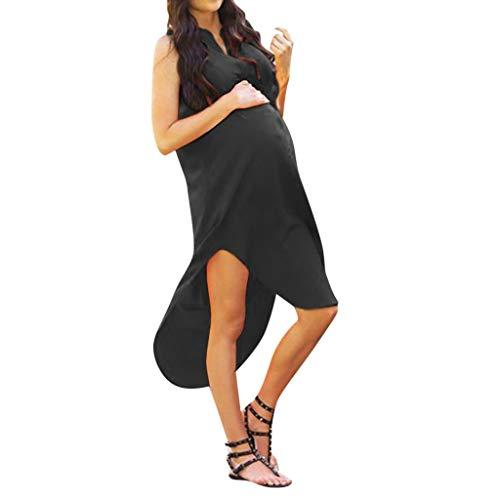 MRURIC❀ Mutterschaftskleid Frauen-festes schwangeres Elegantes ärmelloses reizvolles Kleid-Sommerkleid Schwanger Stillpyjama Nachthemd Dress Schwangerschaft Stillkleider Umstandsmode