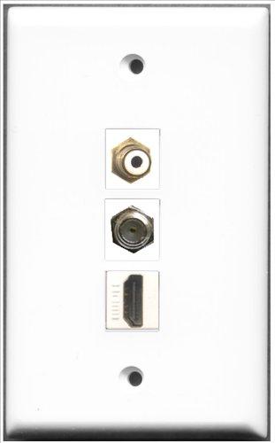 RiteAV-1Port HDMI und 1Port-Weiß und Accessoires, 1Port, F-Wall Plate - Hdmi-modular Wall Plate