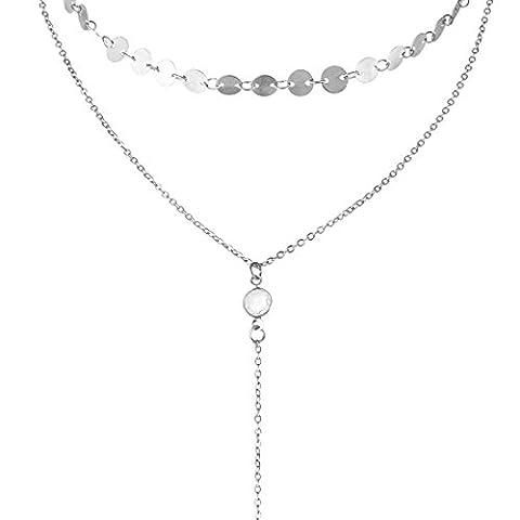 Damen Mädchen Kette CZ Kristall Runde Scheiben Halskette Strass Tassel Anhänger Doppelschicht Halsband Silber Farbe