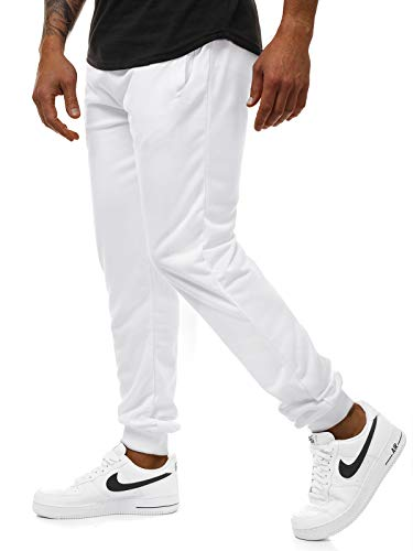 OZONEE Herren Jogginghose Hose Trainingshose Sporthose Laufhose Freizeithose Unifarbe 777/888S WEIß XL