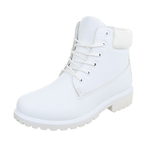 Stiefel Weiß (Schnürstiefeletten Damen-Schuhe Combat Boots Blockabsatz Schnürer Schnürsenkel Ital-Design Stiefeletten Weiß, Gr 38,)