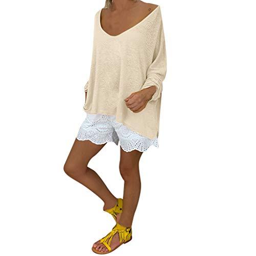 AIFGR Damen Bluse Rundhals-Langarmshirt Pullover Sweater Top Outwear Pulli blusen Strandtunika Rundhalspullover(Beige,L) -