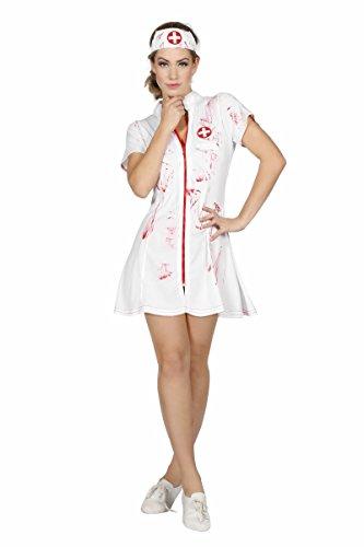 Wilbers Damen Kostüm sexy Horror Zombie Krankenschwester Halloween ()