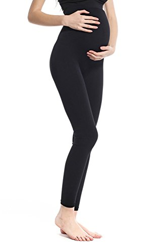 Franato Femme Taille Haute Stretch Maternité Leggings de Grossesse Black 2XL