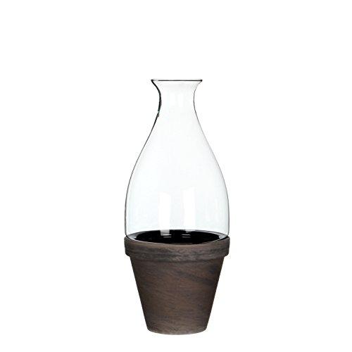 Mica Decorations 144400 Cloche Ronde Fedde Verre H30.5d13.5 Transparent Avec Basalt Pot Dans Giftbox