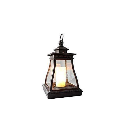 XFZ Courtyard Candle Lantern Im Freien wasserdichte Stehlampe Villa Antike Dekoration Hurricane Lampe for Courtyard View Villa Garten Pool Säule Post Lichter Traditionelle Kleine Säulenlampe -