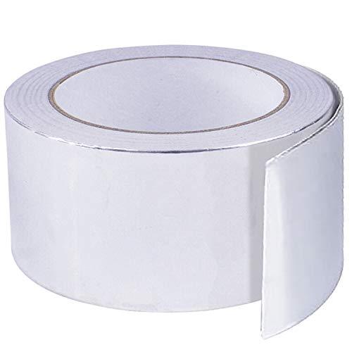 cococity Aluminium selbstklebendes Hitzebeständig Klebeband Tape Aluklebeband 40mmX50mX0.05mm Aluminiumband für Reparaturen von metallischen Oberflächen Silber