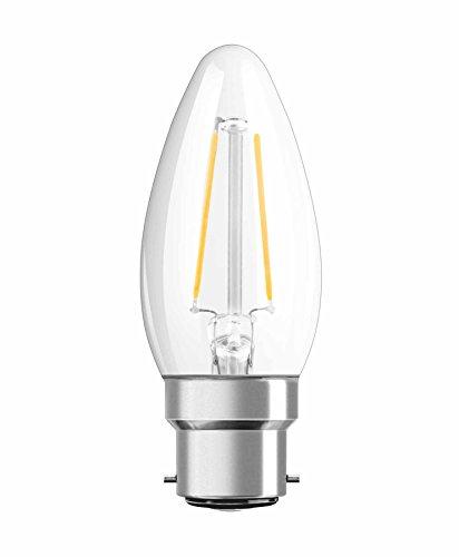 OSRAM Ampoule LED Filament, Forme flamme, Culot B22, 2,1W Equivalent 25W, 220-240V, claire, Blanc Chaud 2700K, Lot de 1 pièce