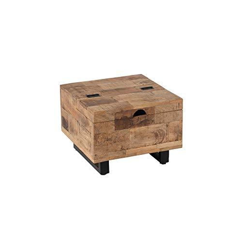 Tousmesmeubles Petite Table Basse carrée Coffre en Bois/Métal - UNIONA - L 50 x l 50 x H 37 - Neuf