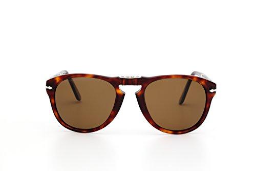 Persol Unisex - Erwachsene Sonnenbrille 0714 Polarisiert, Gr.M (Herstellergröße: 54), Braun ( Havana)