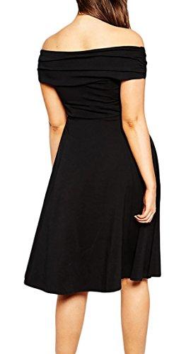 MYWY - Abito donna vestito donna lunghezza ginocchio sexy elegante pieghe gonna twist taglie grandi glamour Nero