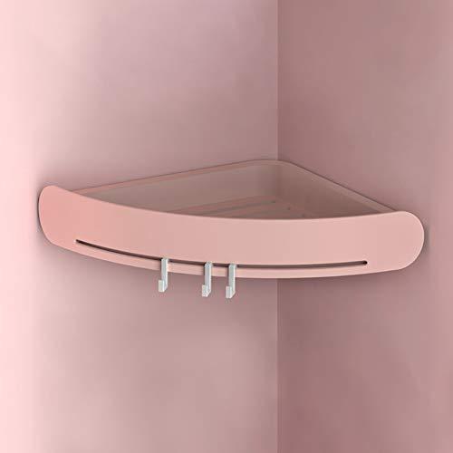 LKSIING Befestigen Ohne Bohren Eckregal mit Haken Hochwertigem Selbstklebend rutschfest Verstellbar Aufbewahrungsbox Badregal,Pink