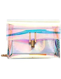 Generic AOTIAN Fashion Women Shoulder Bag Laser Transparent Cross body Bags Korean style Messenger PVC Waterproof Beach Bag A25 Color Silver