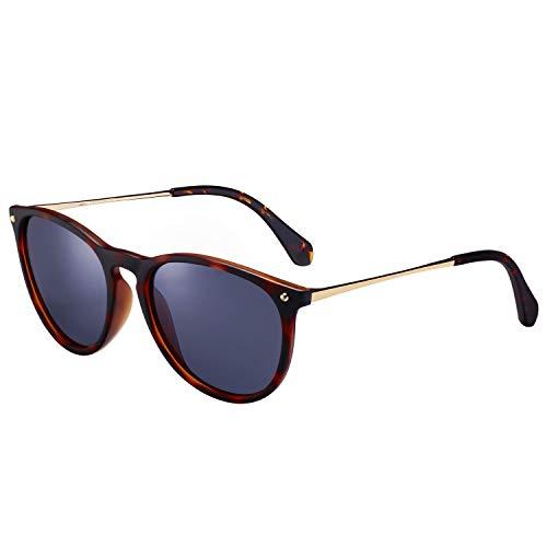 Carfia Vintage Polarisierte Sonnenbrille für Damen Herren UV400 Schutz Ultraleicht Rahmen (Damen/Rahmen: Schildpatt; Linsen: Dunkelblau)