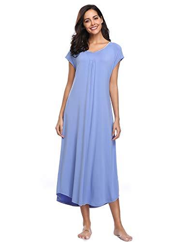 Lusofie camicia da notte lunga da donna sleepwear allentato con scollo a v biancheria da notte con maschera per gli occhi(porpora/xs)