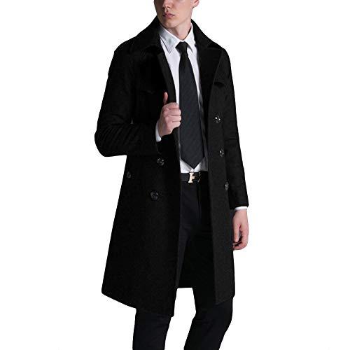 MERRYHE Wolle Trenchcoat Für Herren Zweireiher Great Coat Woolen Lange Jacken Warm Military Mäntel Mit Gürtel,Black-L(Bust/108cm)