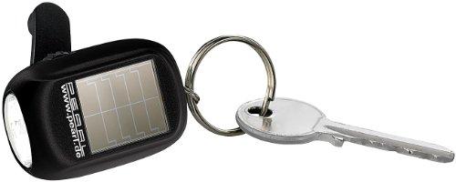 PEARL Kurbellampe: Mini-Solar-LED-Taschenlampe mit zusätzlichem Dynamo & Schlüsselring (Solarbetriebene Taschenlampe)